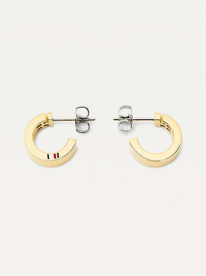 pink gold-plated monogram hoop earrings for women tommy hilfiger