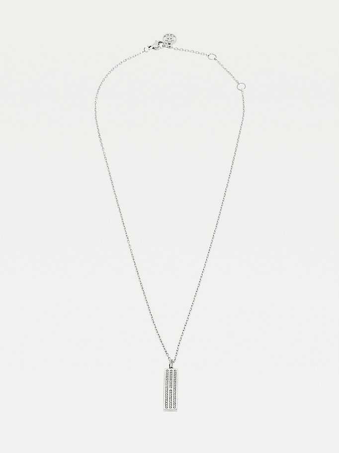 silver silver-tone logo necklace for women tommy hilfiger