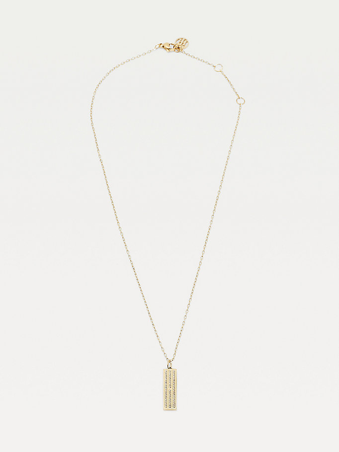 gold gold-plated logo necklace for women tommy hilfiger