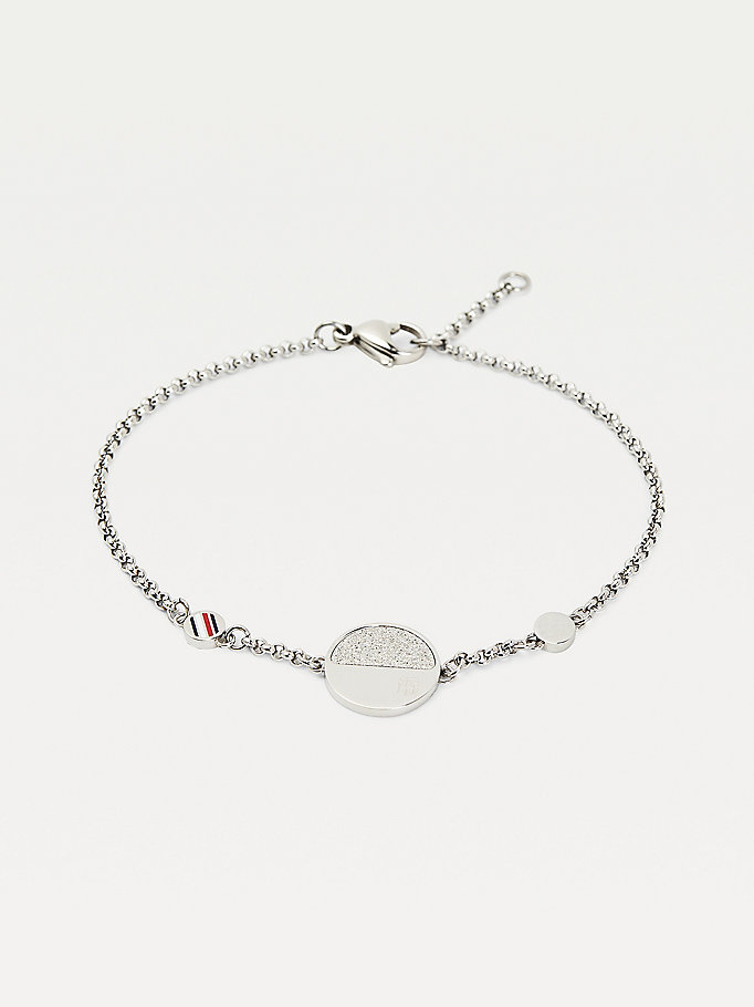 silver monogram circle bracelet for women tommy hilfiger