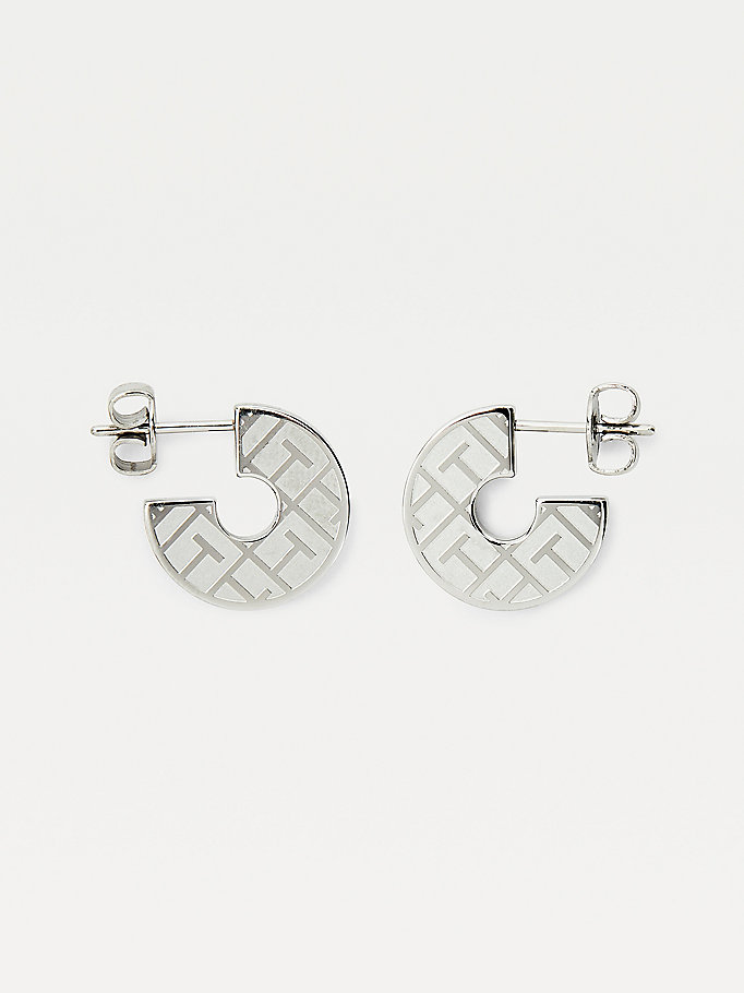 silver stainless steel token earrings for women tommy hilfiger