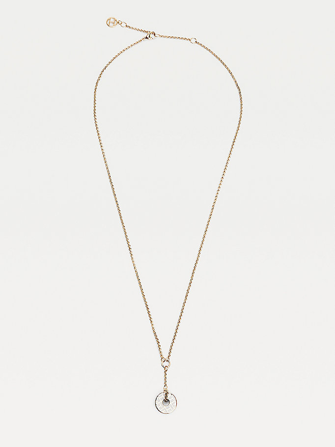 gold gold-plated token necklace for women tommy hilfiger