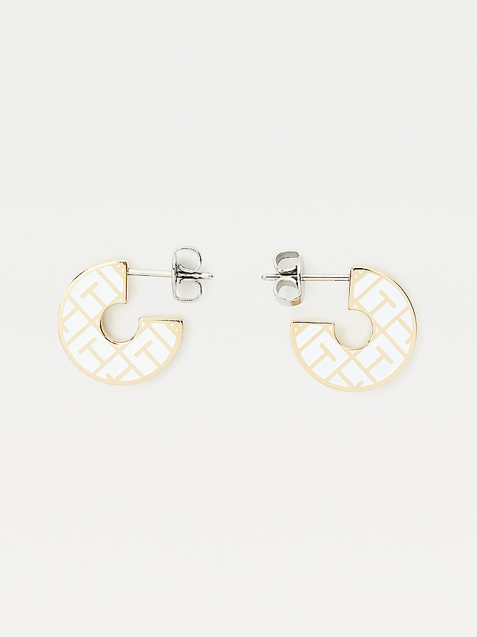 gold gold-plated token earrings for women tommy hilfiger
