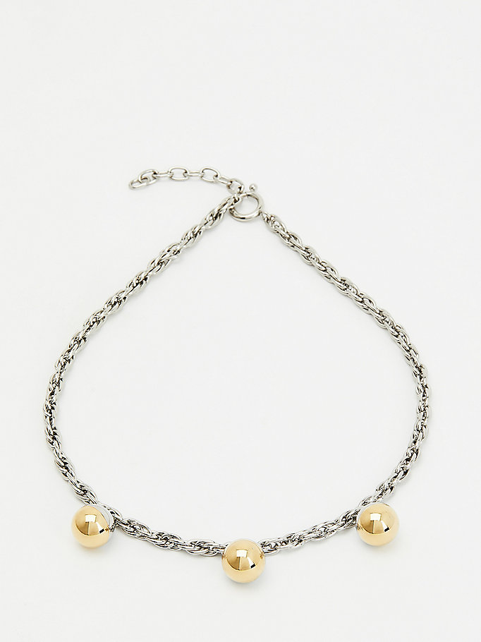 silver orb chain link two-tone necklace for women tommy hilfiger