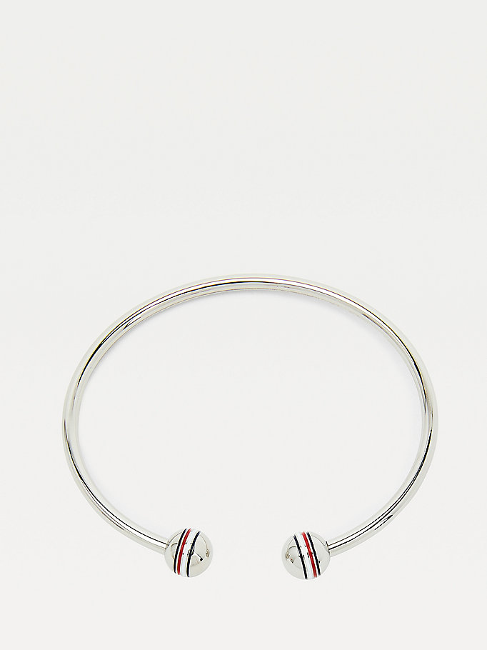 silver orb stainless steel bangle for women tommy hilfiger