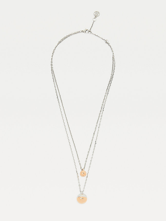 silver orb two-tone double necklace for women tommy hilfiger
