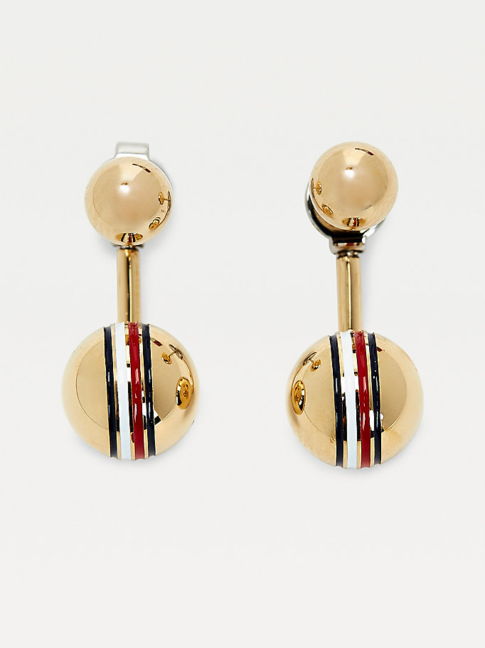 gold orb gold plated earrings for women tommy hilfiger