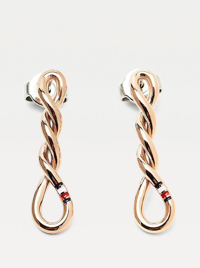 pink twisted rose-gold plated earrings for women tommy hilfiger
