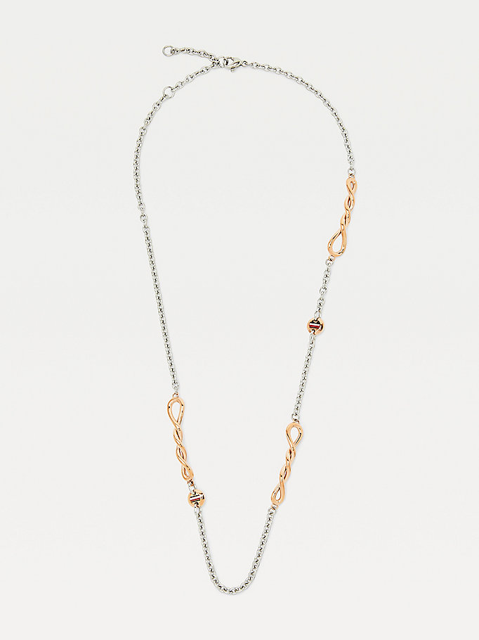 silver twisted two-tone necklace for women tommy hilfiger
