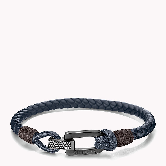 blue braided fold-over clasp bracelet for men tommy hilfiger