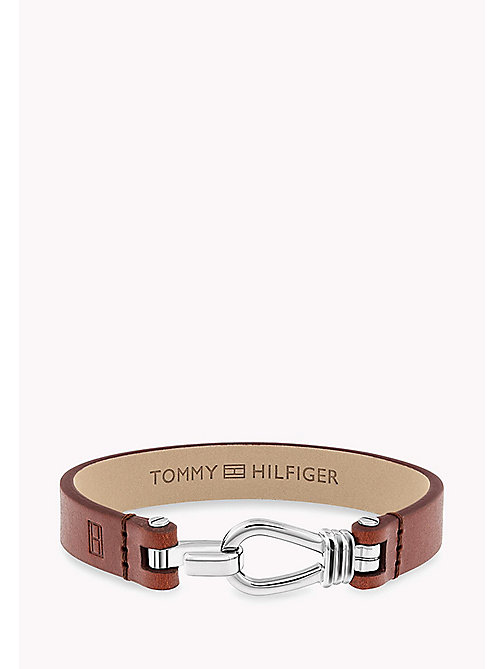 TOMMY HILFIGER Embossed Leather Hook Clasp Bracelet - BROWN - TOMMY HILFIGER Father's day - main image