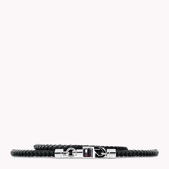 black plaited leather bracelet for men tommy hilfiger