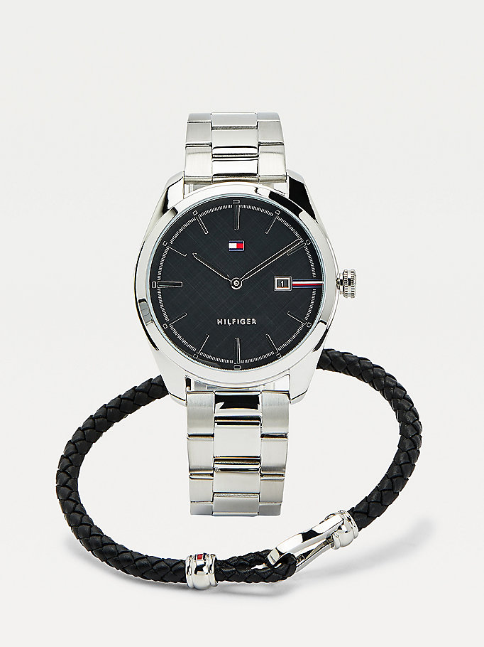 silver watch and leather bracelet gift set for men tommy hilfiger
