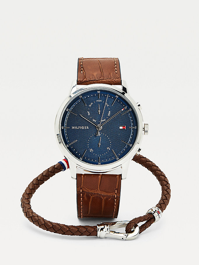 brown croco-print watch and bracelet gift set for men tommy hilfiger