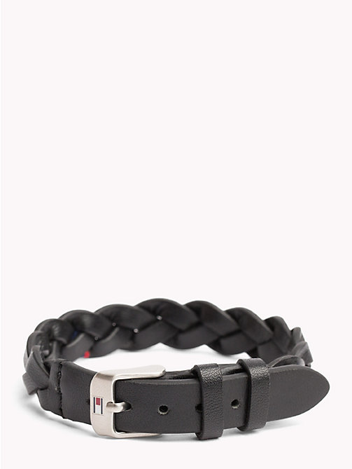 TOMMY HILFIGER Braided Leather Belt Bracelet - BLACK - TOMMY HILFIGER Watches & Jewelry - main image