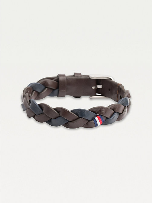 TOMMY HILFIGER Contrast Colour Leather Belt Bracelet - BROWN - TOMMY HILFIGER Jewellery & Cufflinks - detail image 1