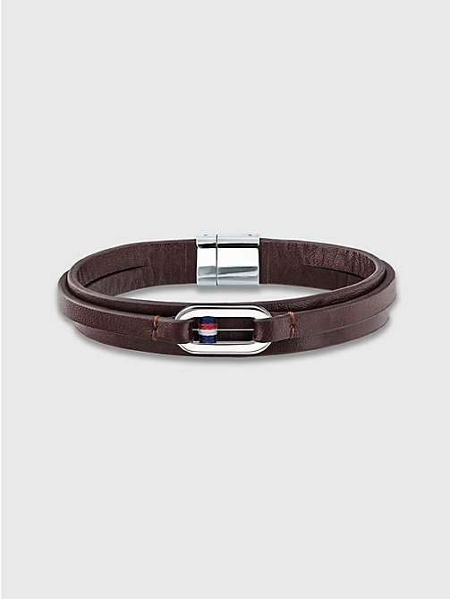 TOMMY HILFIGER Smooth Leather Wrap Bracelet - BROWN - TOMMY HILFIGER Montres & Bijoux - image principale