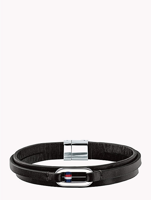 TOMMY HILFIGER Smooth Leather Wrap Bracelet - BLACK - TOMMY HILFIGER Watches & Jewelry - main image
