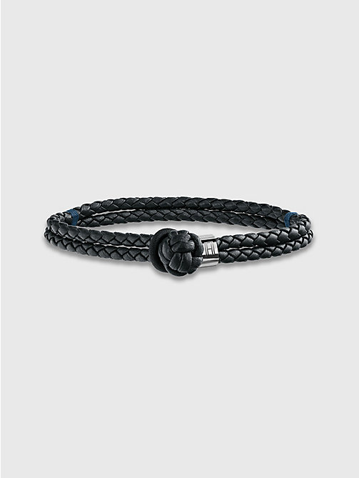 TOMMY HILFIGER Knotted Leather Bracelet - BLACK - TOMMY HILFIGER Biżuteria & Spinki Do Mankietów - main image