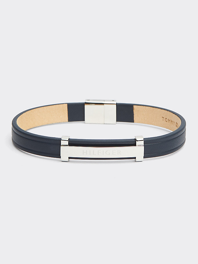 blue navy thin id leather metal bracelet for men tommy hilfiger