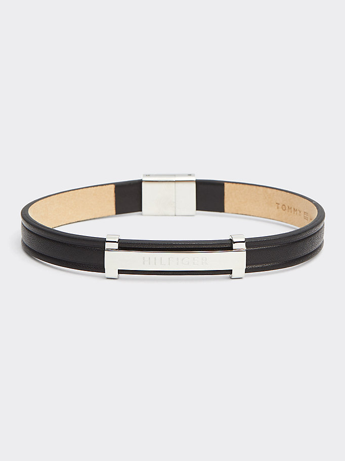 black thin id leather bracelet for men tommy hilfiger
