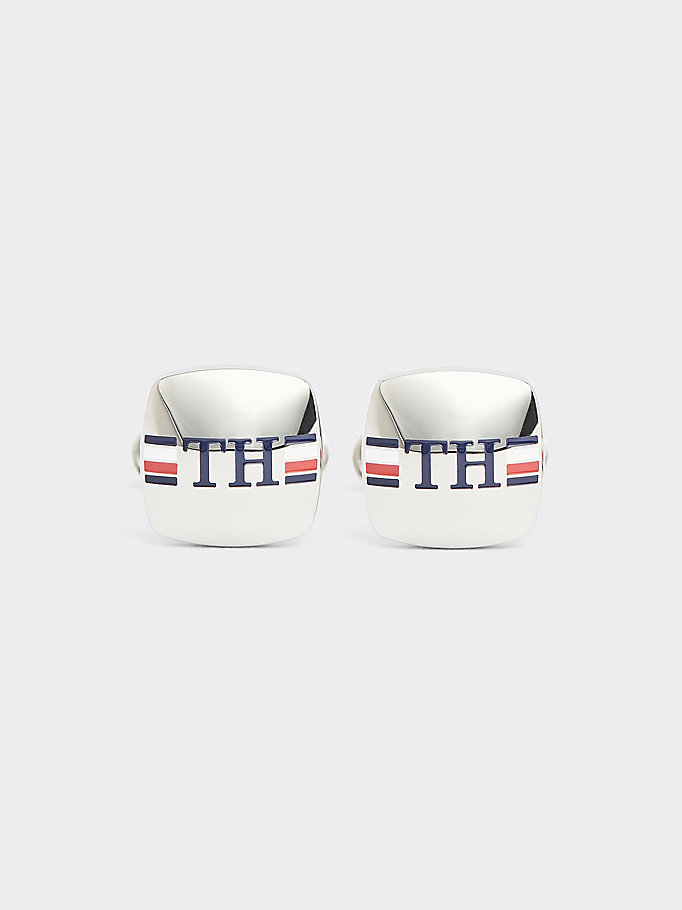 silver enamel monogram logo cufflinks for men tommy hilfiger