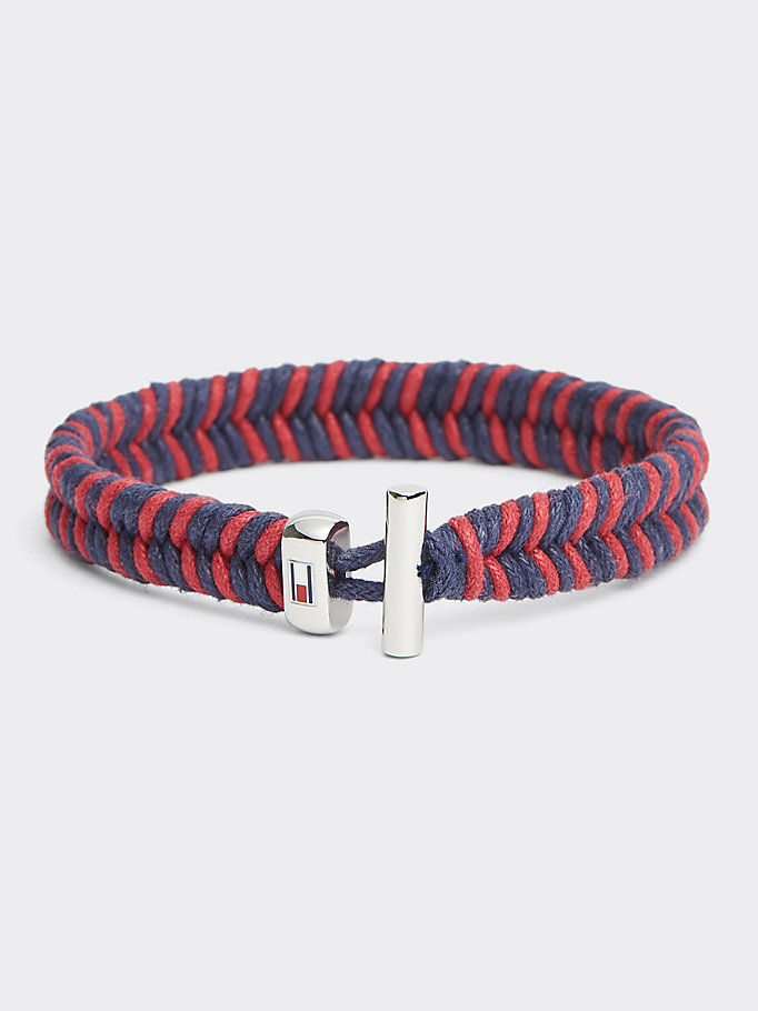 red braided wax cord bracelet for men tommy hilfiger