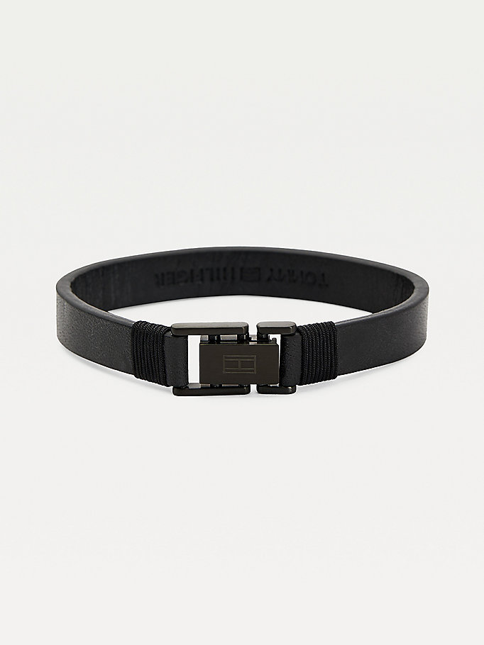 black adjustable leather logo bracelet for men tommy hilfiger