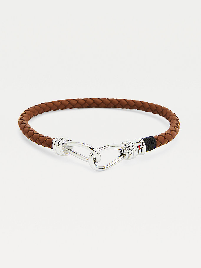 brown brown leather double hook bracelet for men tommy hilfiger