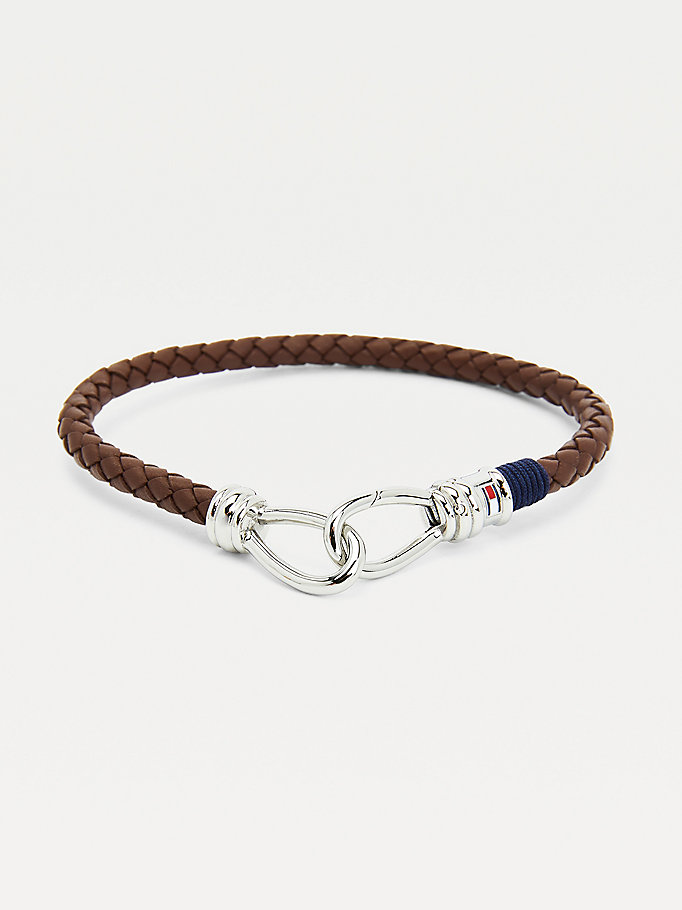 brown dark brown leather double hook bracelet for men tommy hilfiger