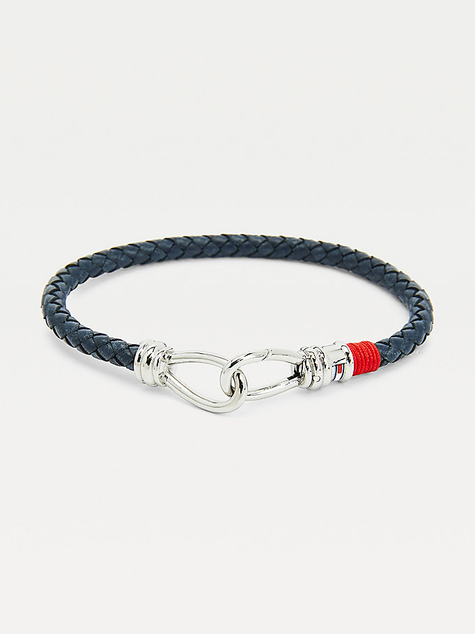 blue navy leather double hook bracelet for men tommy hilfiger
