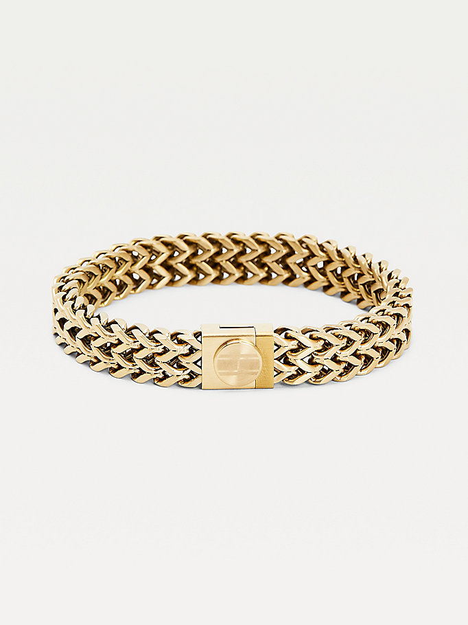 gold gold-plated braided bracelet for men tommy hilfiger
