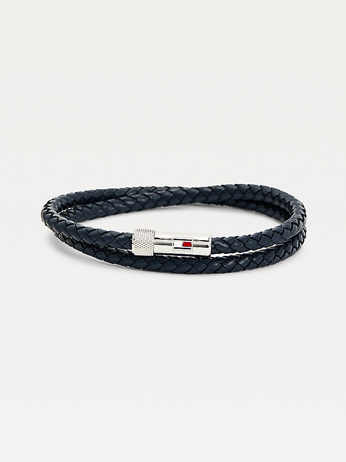blue blue leather double wrap bracelet for men tommy hilfiger
