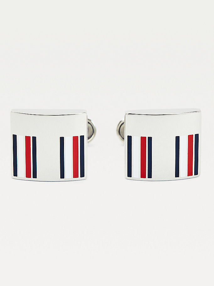 silver square signature tape cufflinks for men tommy hilfiger