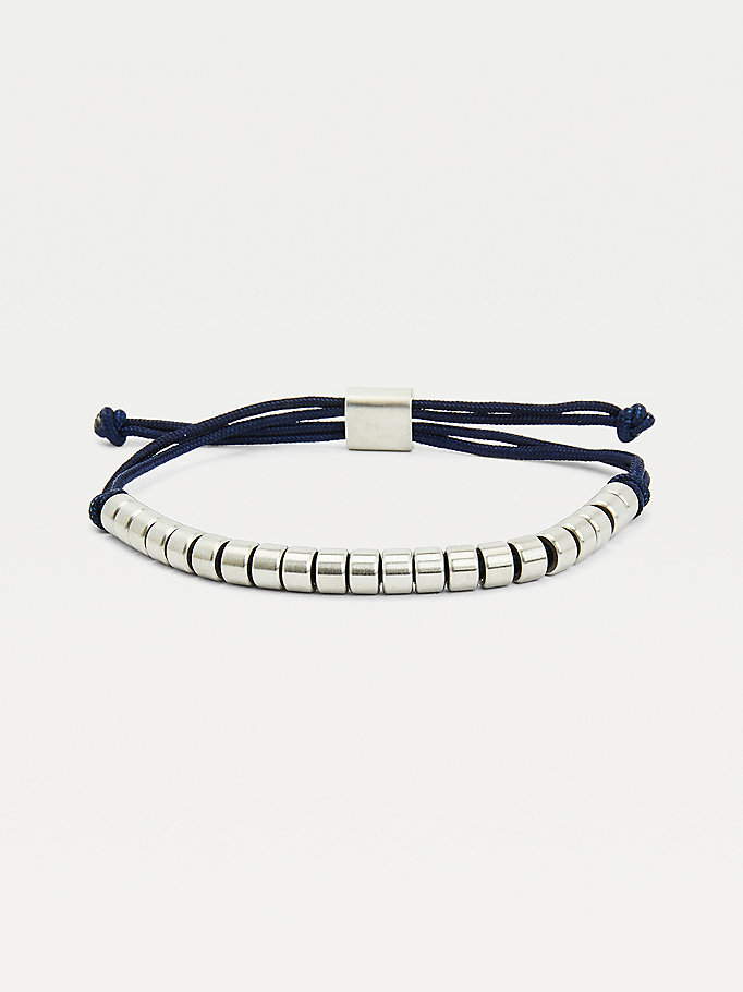 silver navy brushed beaded bracelet for men tommy hilfiger