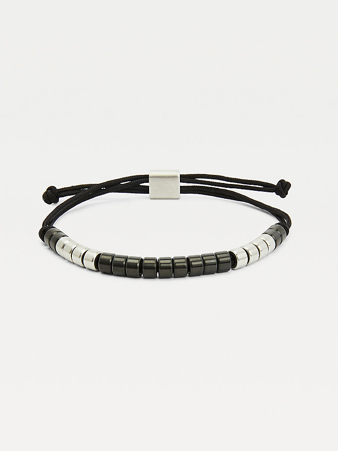 black black brushed beaded bracelet for men tommy hilfiger