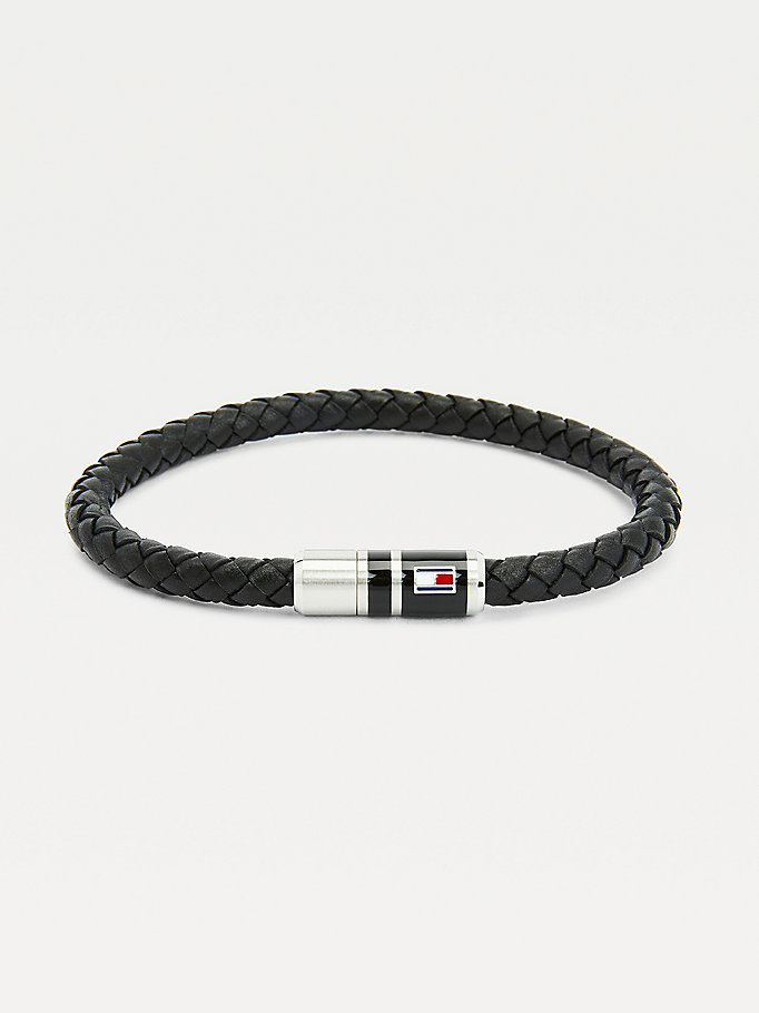 black black leather braided bracelet for men tommy hilfiger