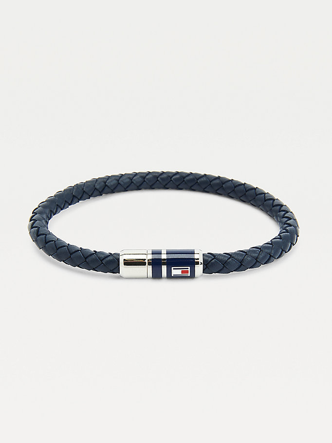 blue navy leather braided bracelet for men tommy hilfiger