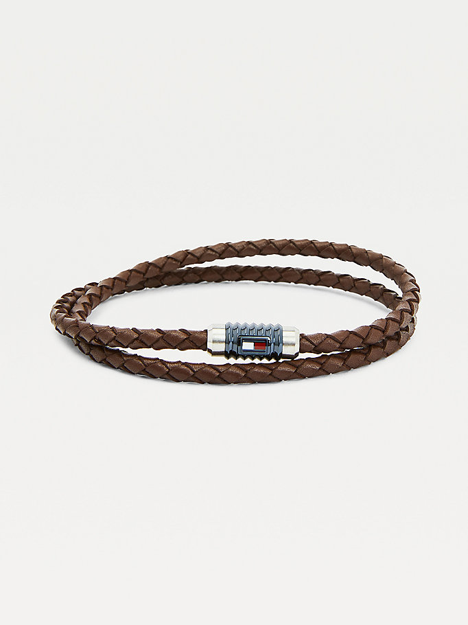 brown double wrap brown bracelet for men tommy hilfiger