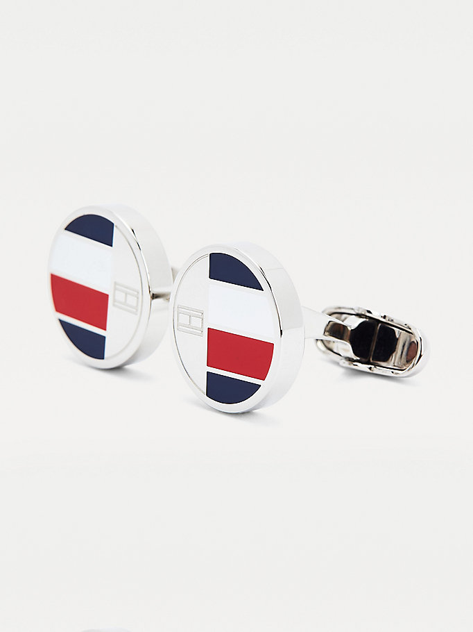 silver round signature tape cufflinks for men tommy hilfiger