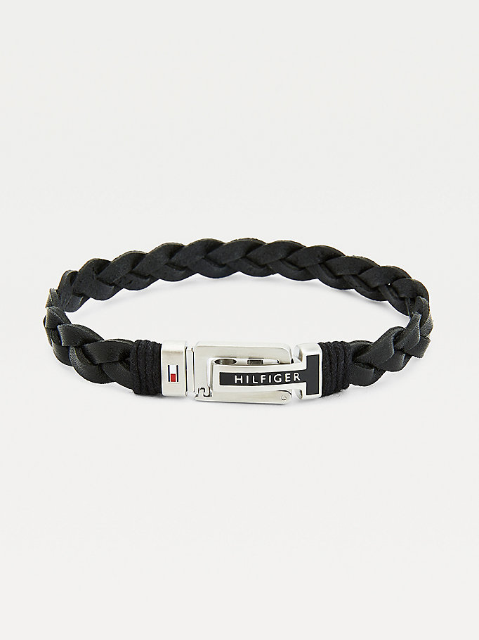 black black flat braided leather bracelet for men tommy hilfiger