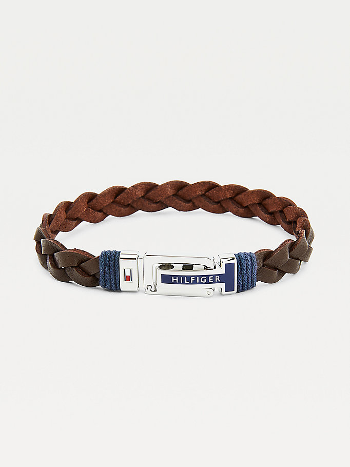 brown brown braided leather bracelet for men tommy hilfiger