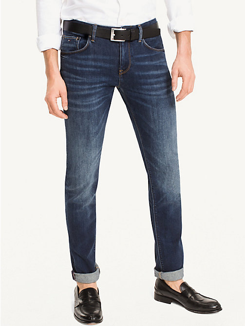 TOMMY HILFIGER Slim Fit Indigo Jeans - NEW DARK STONE - TOMMY HILFIGER Slim-Fit Jeans - main image