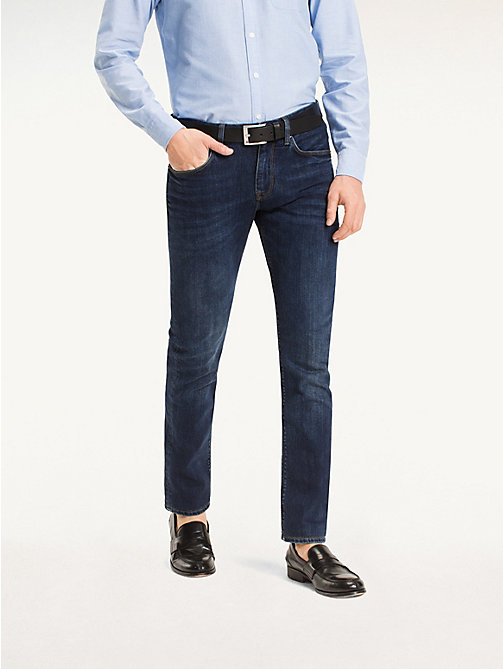 TOMMY HILFIGER Straight Fit Faded Jeans - NEW DARK STONE - TOMMY HILFIGER Straight-Fit Jeans - main image