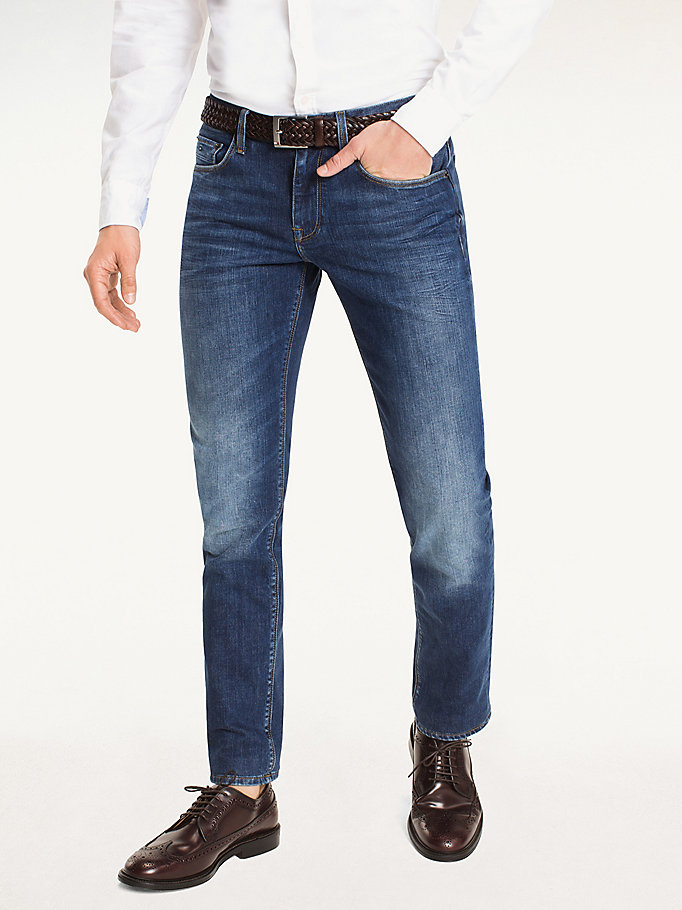 jeans straight fit denim da uomo tommy hilfiger