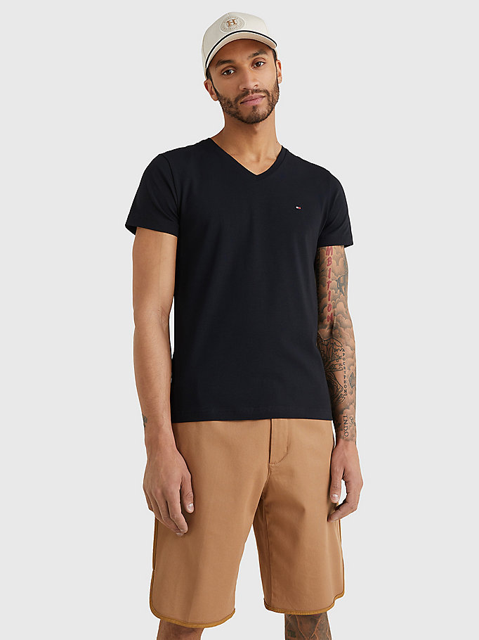 black slim fit cotton t-shirt for men tommy hilfiger