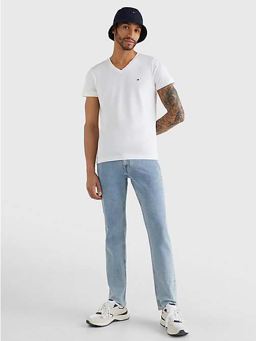 TOMMY HILFIGER V-Neck Slim Fit T-Shirt - BRIGHT WHITE - TOMMY HILFIGER T-Shirts - detail image 1