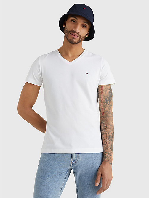 TOMMY HILFIGER V-Neck Slim Fit T-Shirt - BRIGHT WHITE - TOMMY HILFIGER T-Shirts - main image