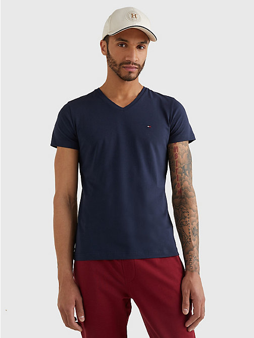 TOMMY HILFIGER V-Neck Slim Fit T-Shirt - NAVY BLAZER - TOMMY HILFIGER T-Shirts - main image