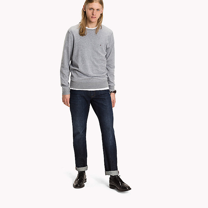 TOMMY HILFIGER Luxury Cotton Crew Neck Jumper - SKY CAPTAIN HEATHER - TOMMY HILFIGER Clothing - main image